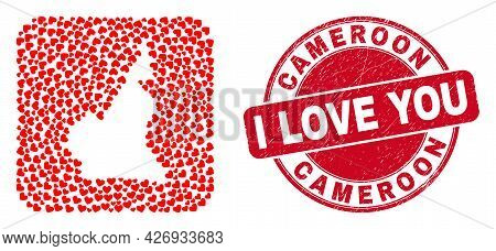 Vector Mosaic Cameroon Map Of Love Heart Elements And Grunge Love Seal Stamp. Mosaic Geographic Came