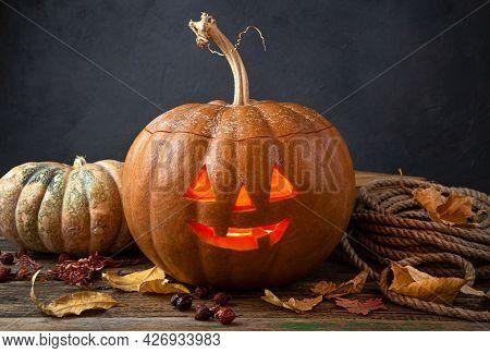 A Smiling Halloween Pumpkin, Jack's Head, A Burning Lantern. The Traditional Symbol Of Halloween. Si