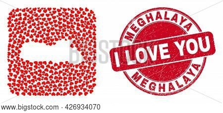 Vector Mosaic Meghalaya State Map Of Lovely Heart Elements And Grunge Love Seal Stamp. Mosaic Geogra
