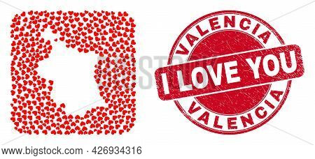 Vector Collage Valencia Province Map Of Love Heart Elements And Grunge Love Seal. Collage Geographic