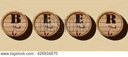 Vector Illustration With The Image Of Wooden Barrels And The Inscription