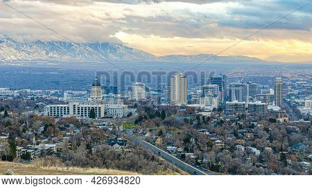 Pano Entire View Of Buildings And Residential Houses Of Salt Lake City In Utah
