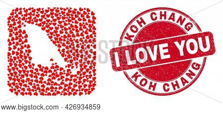 Vector Collage Koh Chang Map Of Lovely Heart Items And Grunge Love Badge. Collage Geographic Koh Cha