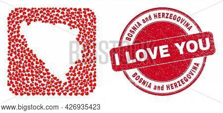 Vector Mosaic Bosnia And Herzegovina Map Of Love Heart Elements And Grunge Love Badge. Mosaic Geogra