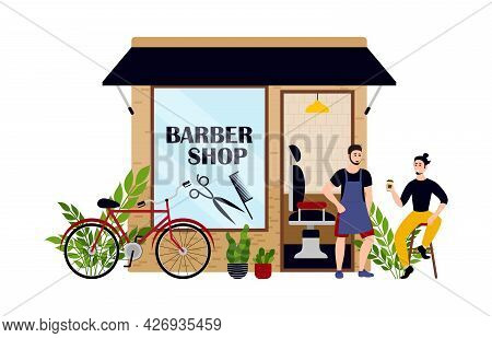 Family Barber Shop Business Bundle Of Flat Scenes. Owners And Customers. Vector Illustration Eps10