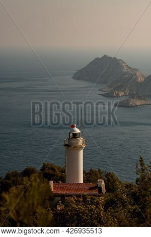 View Of Gelidonya Lighthouse - One Of The Guide Beacons Of The Mediterranean Sea