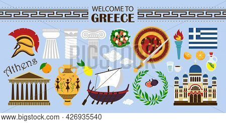 Welcome To Greece Travel Collection. Travel Concept Greece Landmark Flat Icons Design. Travel Illust
