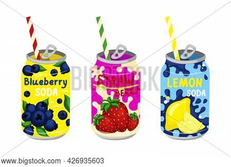 Cartoon Color Various Tasty Sodas Set. Kawaii Japanese Style. Carbonated Water With Different Fruit
