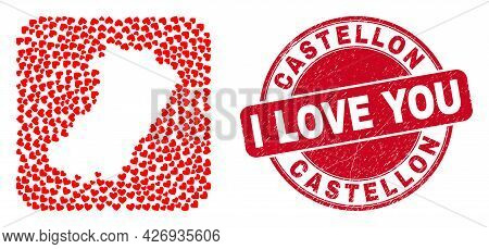 Vector Collage Castellon Province Map Of Lovely Heart Items And Grunge Love Badge. Mosaic Geographic