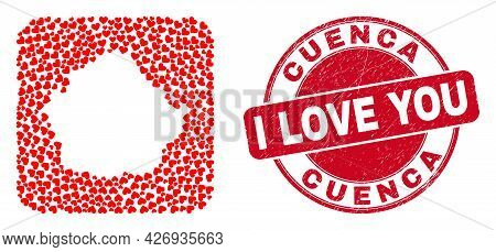 Vector Collage Cuenca Province Map Of Valentine Heart Items And Grunge Love Seal. Collage Geographic