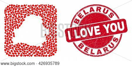 Vector Collage Belarus Map Of Valentine Heart Items And Grunge Love Seal. Collage Geographic Belarus