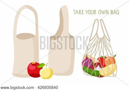 Take Your Own Bag. Eco Bag Set. Canvas Shoppers And String Bag With Vegetables. Ecological Fabric Pa