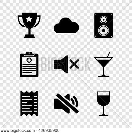 Set Trophy Cup, Cloud, Stereo Speaker, Paper Or Financial Check, Speaker Mute And Wine Glass Icon. V