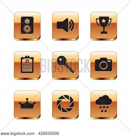 Set Stereo Speaker, Crown, Camera Shutter, Key, Clinical Record And Trophy Cup Icon. Vector