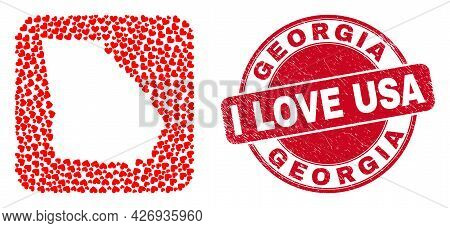 Vector Mosaic Georgia State Map Of Love Heart Items And Grunge Love Seal. Mosaic Geographic Georgia