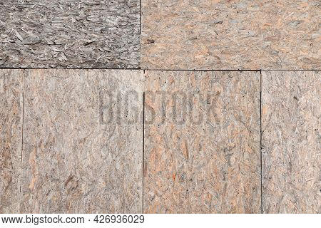 Wall Made Of Chipboards With Different Structures, Construction Wood Background