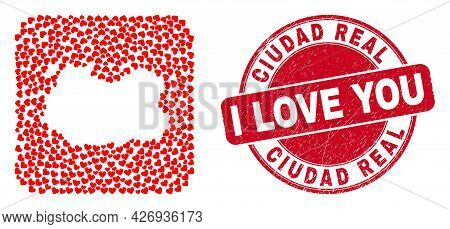 Vector Collage Ciudad Real Province Map Of Love Heart Items And Grunge Love Stamp. Collage Geographi