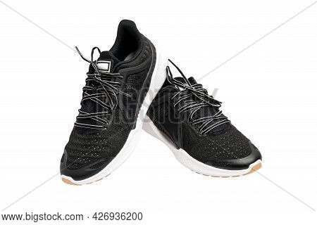 Sport Shoes, Modern Black Man Sports Shoes Isolated On A White Background.