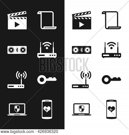 Set Router And Wi-fi, Bluetooth Speakers, Movie Clapper, Paper Scroll, And Key Icon. Vector