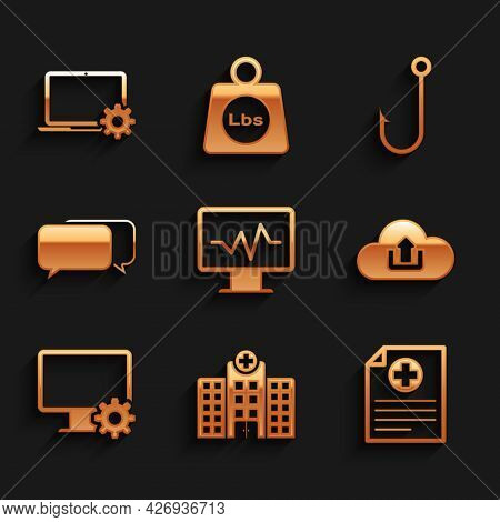 Set Monitor With Cardiogram, Medical Hospital Building, Clinical Record, Cloud Upload, Computer Moni