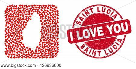 Vector Mosaic Saint Lucia Island Map Of Lovely Heart Elements And Grunge Love Stamp. Mosaic Geograph