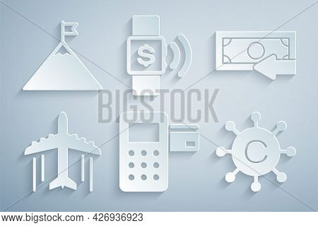 Set Pos Terminal, Cash Back, Plane, Copywriting Network, Contactless Payment And Mountains And Flag