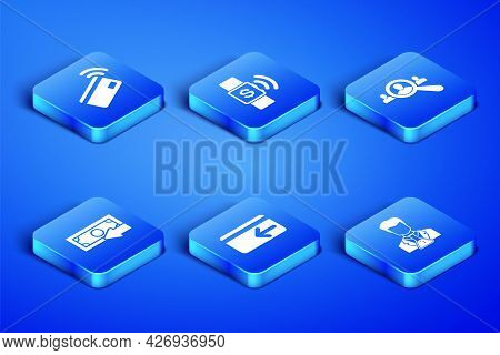 Set Scientist And Test Tube, Contactless Payment, Cash Back, , And Magnifying Glass For Search Peopl
