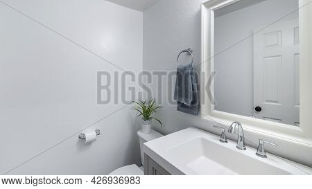 Pano Bathroom Design With Plain White Walls And Vanity Sink