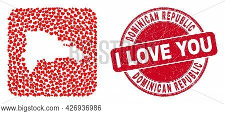 Vector Collage Dominican Republic Map Of Love Heart Elements And Grunge Love Seal. Collage Geographi