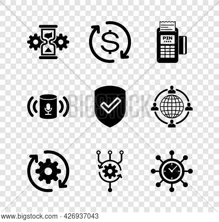 Set Hourglass And Gear, Return Of Investment, Pos Terminal, Gear Arrows Workflow, Algorithm And Cloc