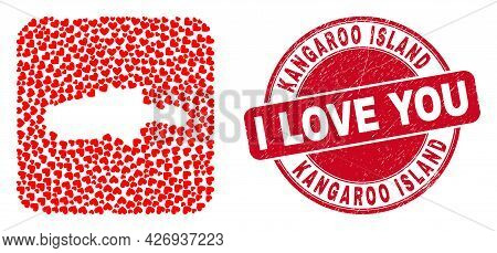 Vector Mosaic Kangaroo Island Map Of Love Heart Items And Grunge Love Badge. Mosaic Geographic Kanga