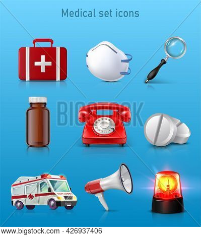 3d Realistic Set Of Medical Icons. First Aid Kit Bag, Mask, Magnifying Glass, Pill Bottle, Red Phone