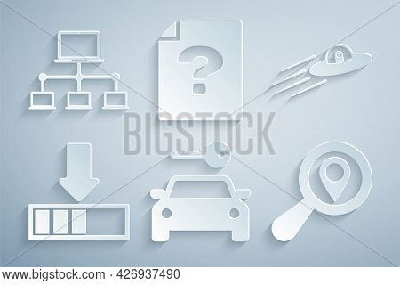 Set Car Rental, Ufo Flying Spaceship And Alien, Loading, Search Location, Unknown Document And Compu