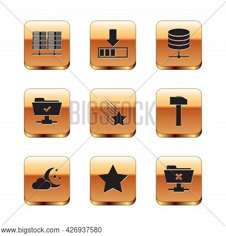 Set Server, Data, Web Hosting, Cloud With Moon And Stars, Star, Falling, Ftp Operation Successful An