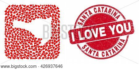 Vector Mosaic Santa Catarina State Map Of Valentine Heart Items And Grunge Love Seal.