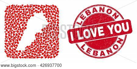Vector Collage Lebanon Map Of Valentine Heart Items And Grunge Love Seal. Collage Geographic Lebanon