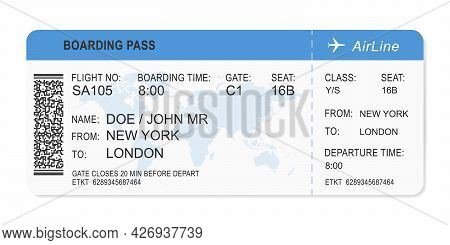 Airline Ticket On White Background. Single Boarding Pass With Passenger Name, Departure Data And Qr