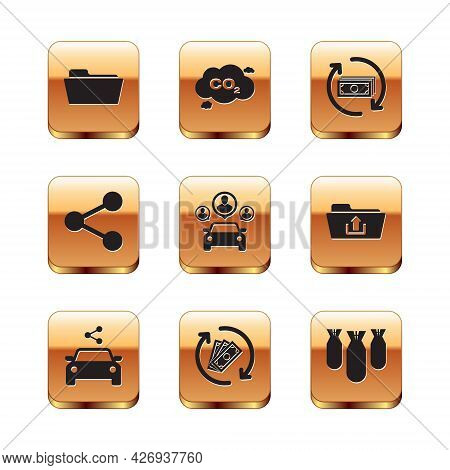 Set Folder, Car Sharing, Refund Money, , Share And Icon. Vector