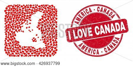 Vector Collage Canada V2 Map Of Love Heart Items And Grunge Love Badge. Collage Geographic Canada V2