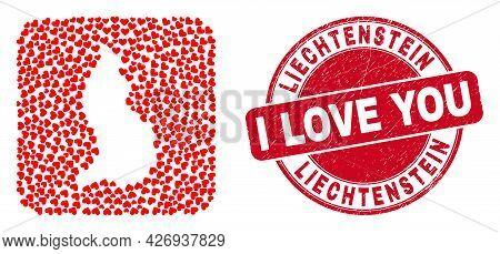 Vector Collage Liechtenstein Map Of Valentine Heart Elements And Grunge Love Seal. Collage Geographi