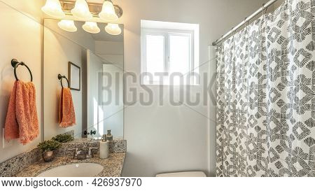 Pano Bathroom Interior With Ambient Lighting And Window