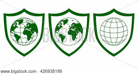 Globe With World Map Inside Shield Shape Isolated On White. Green Signs Set, Icon Design, Simple Lin