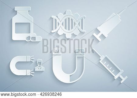 Set Magnet, Syringe, Customer Attracting, , Genetic Engineering And Medicine Bottle And Pills Icon.