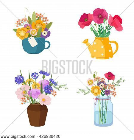 Four Beautiful Wildflower Bouquets In Different Containers. Wildflowers Stand In A Vase, Cup, Wateri