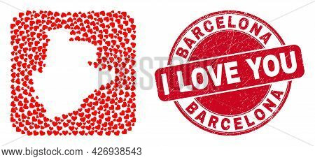 Vector Collage Barcelona Province Map Of Valentine Heart Elements And Grunge Love Seal Stamp. Mosaic