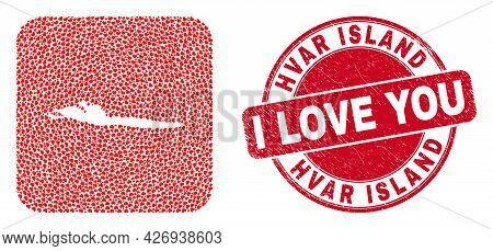 Vector Mosaic Hvar Island Map Of Love Heart Elements And Grunge Love Badge. Collage Geographic Hvar