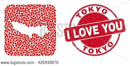 Vector Mosaic Tokyo Prefecture Map Of Lovely Heart Items And Grunge Love Seal Stamp. Mosaic Geograph