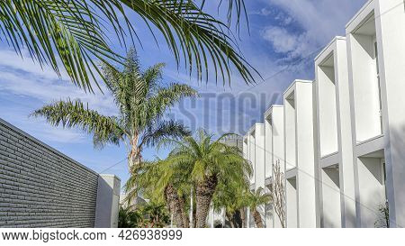 Pano Beautifully Landscaped Paved Yard At Facade Of Townhomes In Huntington Beach