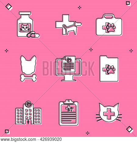 Set Cat Medicine Bottle And Pills, Veterinary Clinic, Pet First Aid Kit, Dog Bone, Clinical Record P