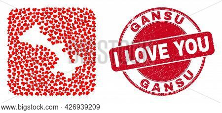 Vector Mosaic Gansu Province Map Of Love Heart Items And Grunge Love Badge. Collage Geographic Gansu